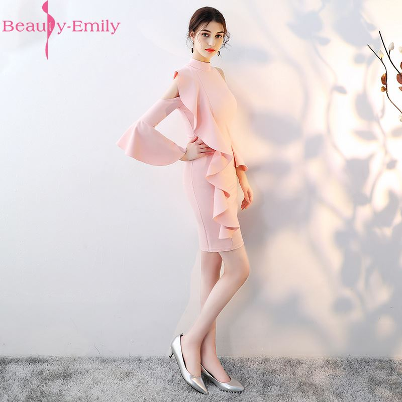 Beauty-Emily Pink Short Prom Dresses 2019 Mermaid Prom Dress Gown Formal Homecoming Dresses Party Gowns Vestido De Festa Curto