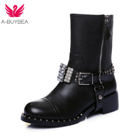 2017 New Fashion Women Genuine Leather +PU Ankle Boots Rhinestone Buckle Rivets Boots Thick Heel Motorcycle Woman Martin Shoes