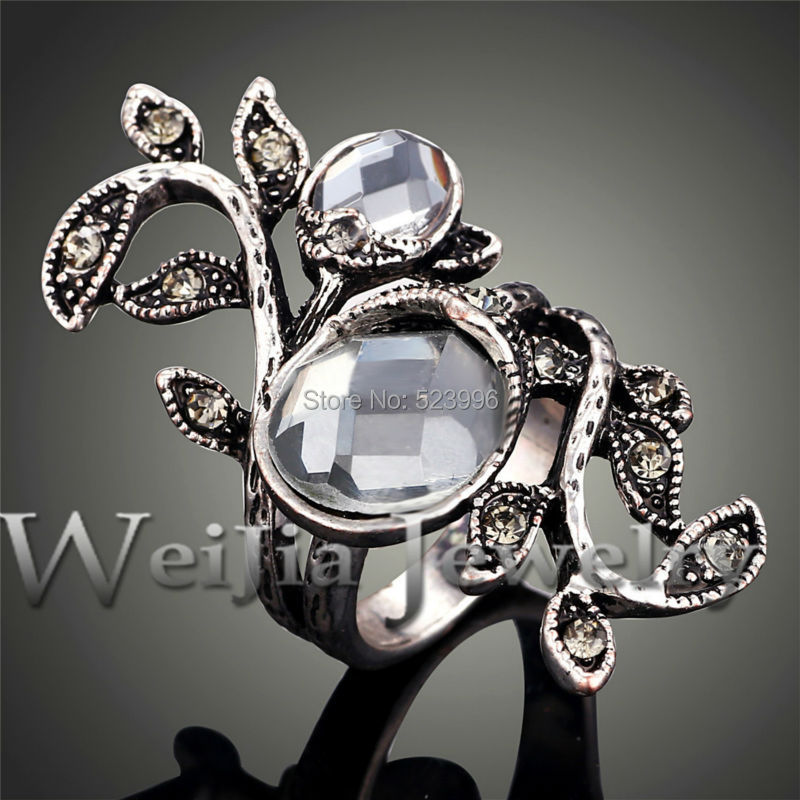Top-Quality Antique Silver Color Leaves Design Ring With Crystals And Rhinestones Jewelry Rings For Women J00526