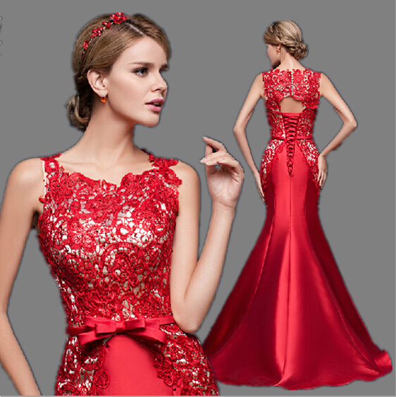 real photo mother bride dubai long red lace elegent gown formal mermaid evening dress for wedding guests with open back