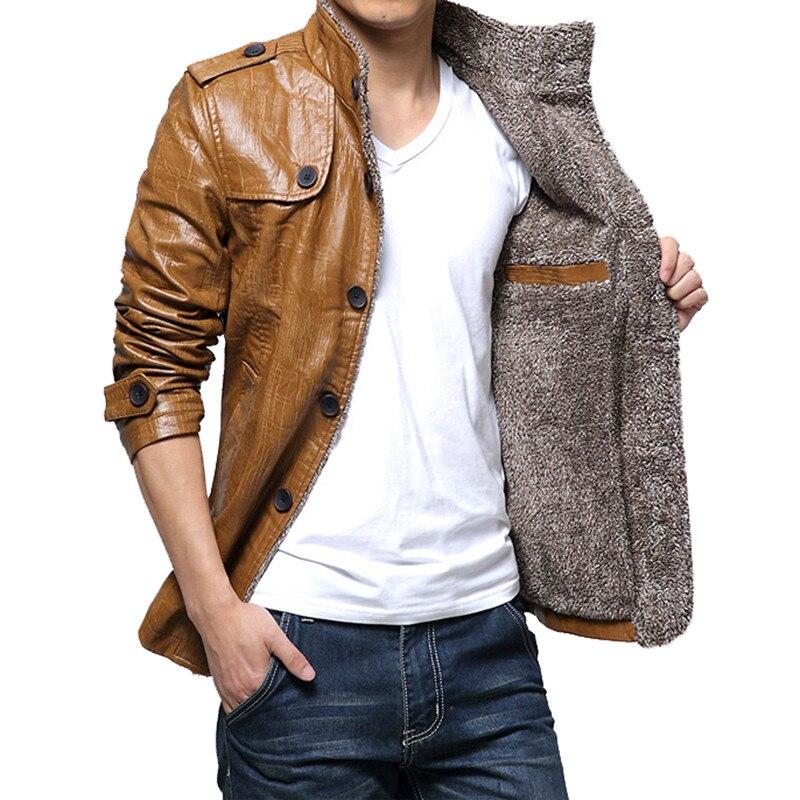 Élégant britannique hiver hommes vestes manteau coupe-vent Trench épaissir fausse fourrure PU cuir Slim Fit vestes hommes vêtements Masculino