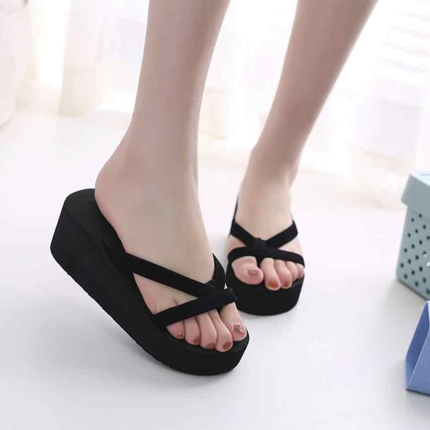 8f5fc3ad247 Women Shoes Women s Summer Fashion Slipper Flip Flops Beach Wedge Thick  Sole Heeled Shoes DropShip 2018JU20
