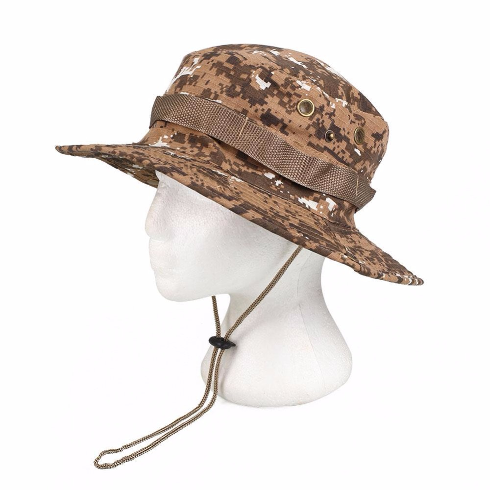 Outdoor Hiking Fishing Hunting Camo Boonie Bucket Hat Tactical Army  Military Jungle Bush Summer Sun Camouflage Caps-in Fishing Caps from Sports  ... d317d60e9582