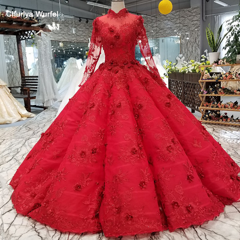 LS02100 Red Muslim Puffy Vintage Evening Dress Long Sleeves High Neck Floor Length Evening Party Dresses Women Occasion Dress