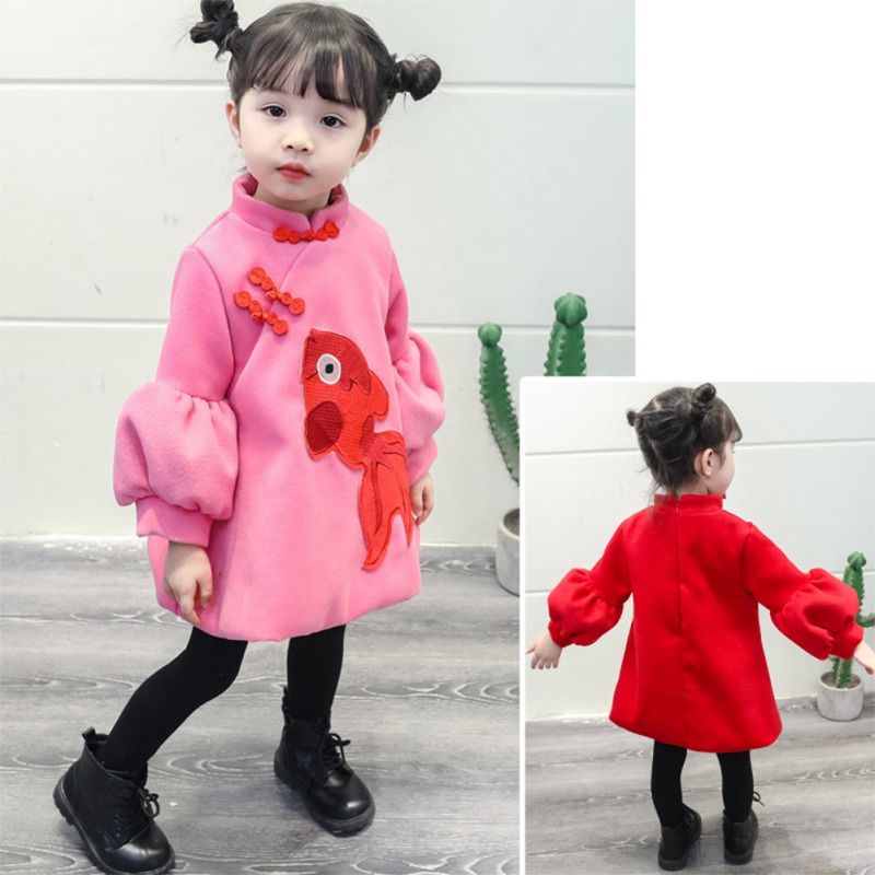 fashion kids girl dresses  long sleeve dress cheongsam outfits 2019 Chinese new year baby kids Children