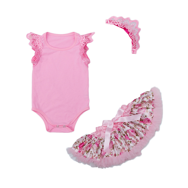 Newest Baby Girl Clothes Infant Pink Rompers Summer Jumpsuit Flower Tutu Skirts 3 Pcs Girls Newborn Birthday Bebes Clothing Sets