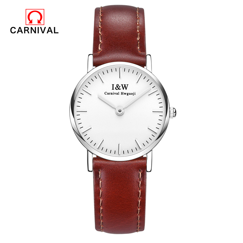 Carnival Top Brand Fashion Women Watches Simple Office Ladies Quartz Watch I & W Waterproof Ultra-thin 6MM Wristwatch Clock carnival iw authentic ladies watch quartz watch steel mesh with noble women s watch waterproof ultra thin simple women s watch