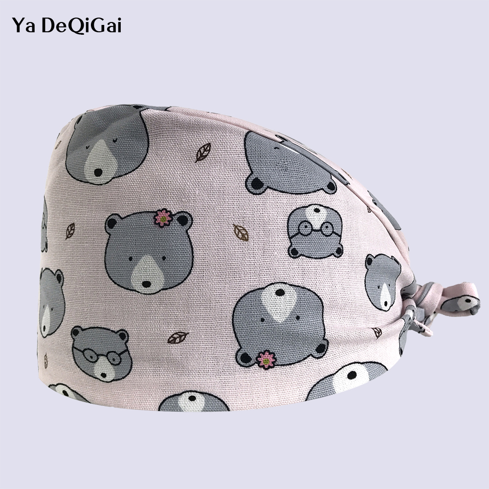New Men And Women Beauty Salon Work Caps Dentistry Operating Room Hats Doctor Nurse Cotton Printing Pet Doctor Adjustable Hats