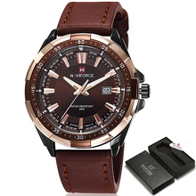 Top Brand NAVIFORCE Men's Fashion Casual Sport Watches Men Waterproof Leather Quartz Watch Man military Clock Relogio Masculino