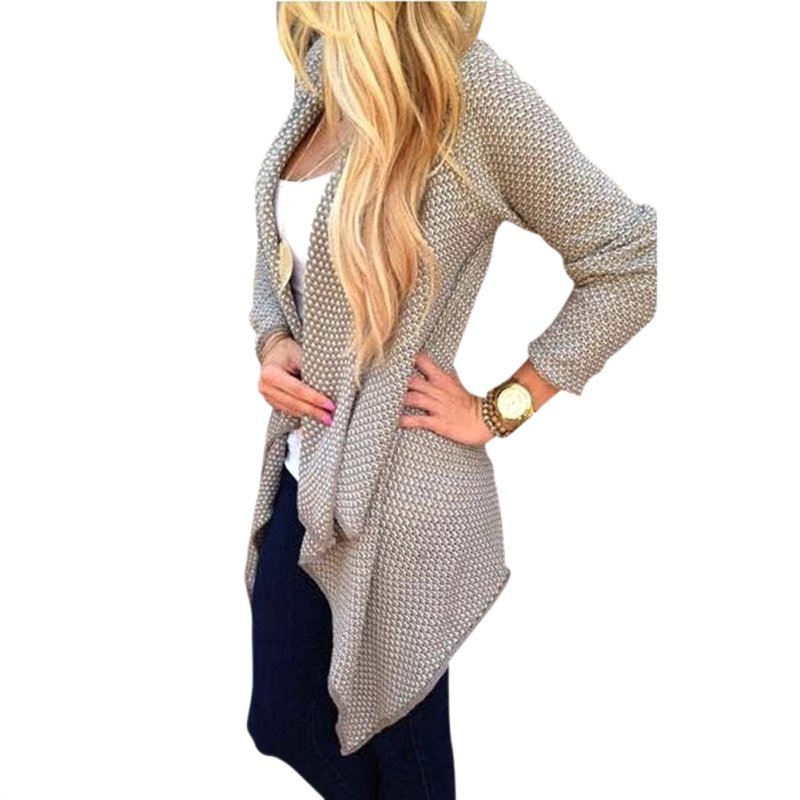 113f83c23d1 Spring Autumn Clothes Women Irregular Top Long Sleeve Knitted Sweater  Cardigan Open Front Tops Outwear S4-in Cardigans from Women s Clothing    Accessories ...