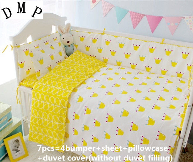 Promotion! 6/7PCS With Filler Unisex Baby Crib Bedding Sets Cotton,Set in Bed,Designer Bedding Brand,Duvet Cover,120*60/120*70cm with filler freeshipping pink color crib kit bedding piece set 5pcs baby bedding 100% cotton 120 70cm
