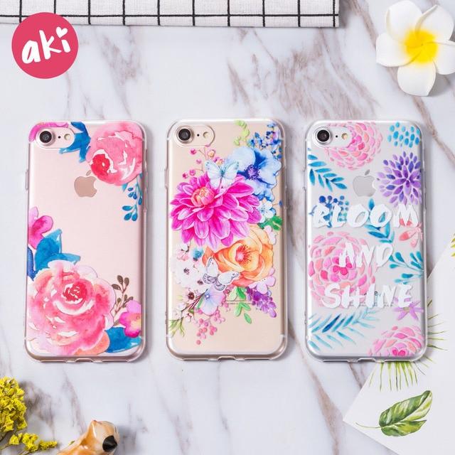 new concept a6a59 4da9e US $0.99 20% OFF|AKI Watercolor Flowers Phone Cases for iPhone 8 7 Plus  Case Soft TPU Roses Flowers Case Shell Cover for iPhone 6s 6 Plus Cases-in  ...