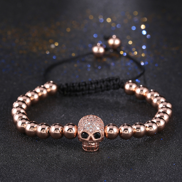2017 New Trend Rose Gold Color Rhinestone Skull Head Beads Braiding
