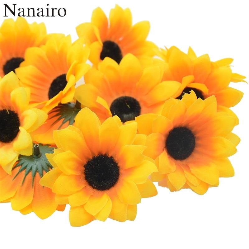 10pcs 7cm Large Silk Sunflower Artificial Flower Head For Wedding Box Decoration Headmade Scrapbooking Accessories Fake flowers
