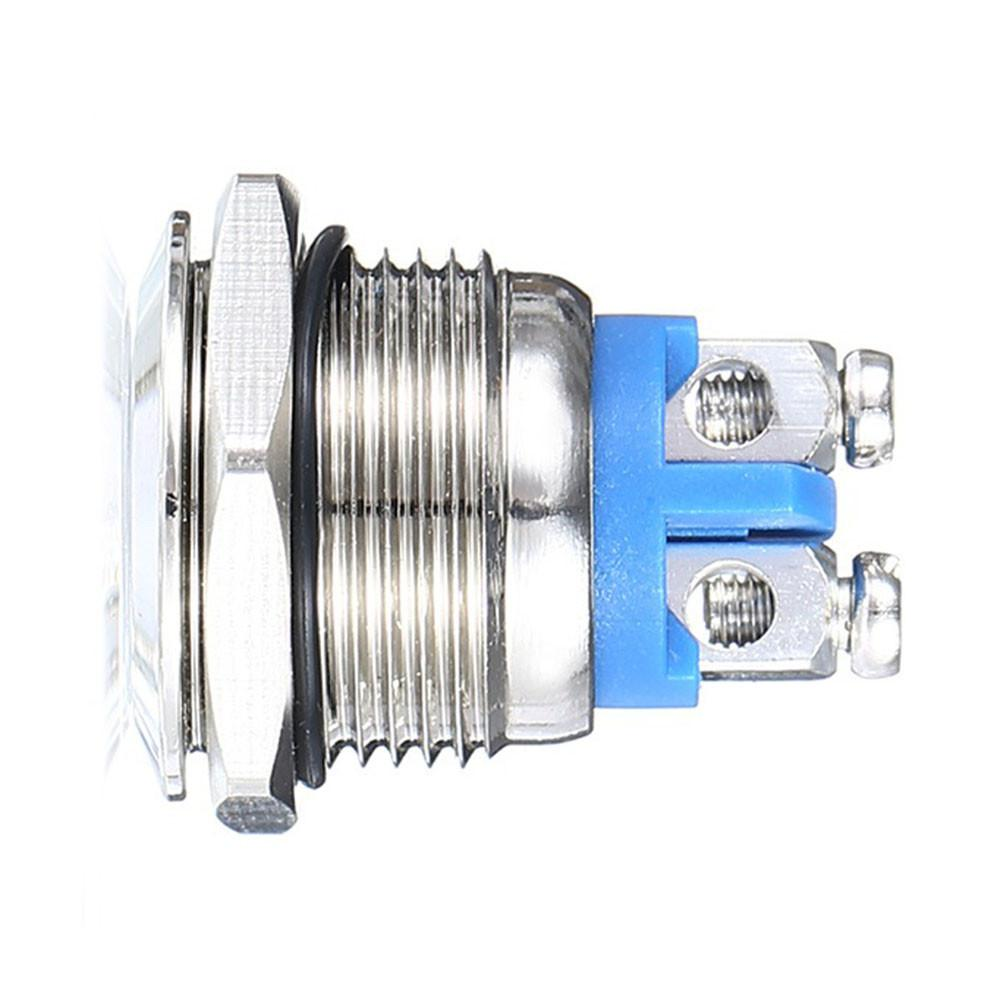 16mm Silver Stainless Steel Push Button Switch Car 12V Metallic Luster And Blue Color Metal Switch