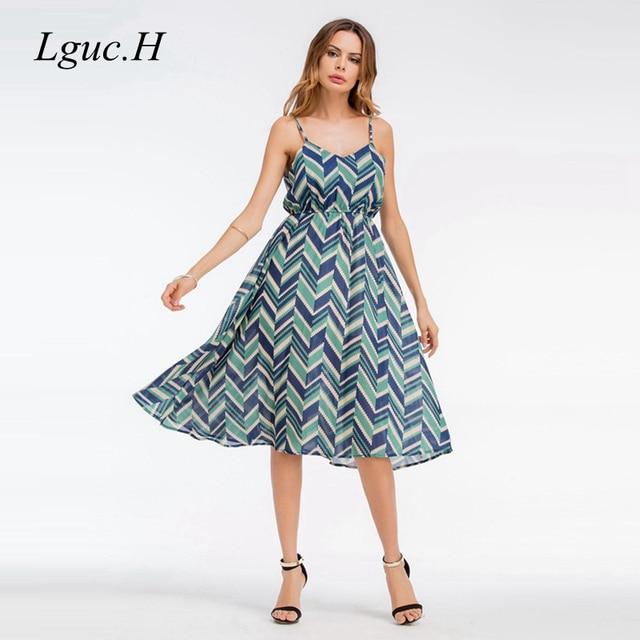 038d194ddb7 2018 Dress Xl Dresses Sleeveless H Chiffon Brand Summer High Casual Sling  Tunic Fashion Waist Sexy Women Printed ...