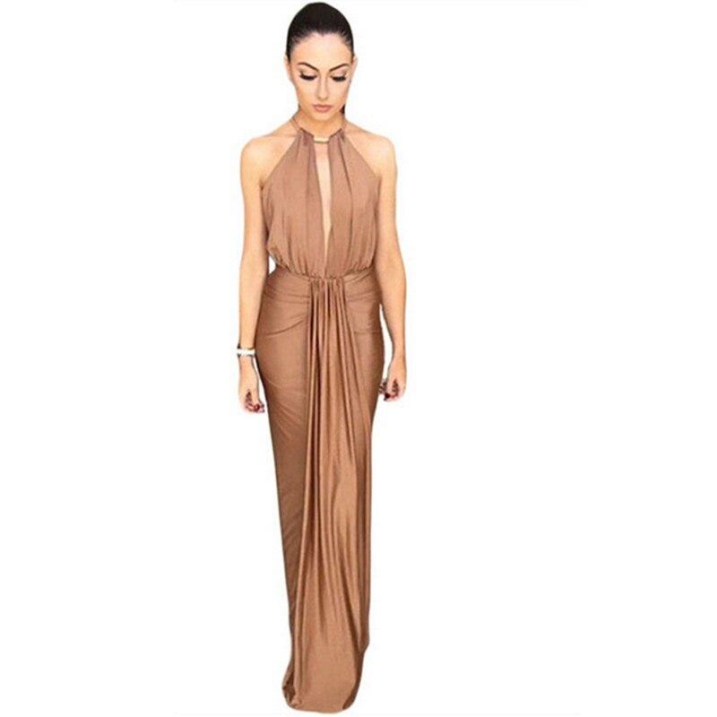 672fcbcb41c1 Dear lover Elegant Silky Jewel Halter Neck Camel Black Long Maxi ...