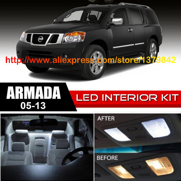 Free Shipping 16Pcs/Lot car-styling 12v Xenon White/Blue Package Kit LED Interior Lights For 05-13 Nissan Armada