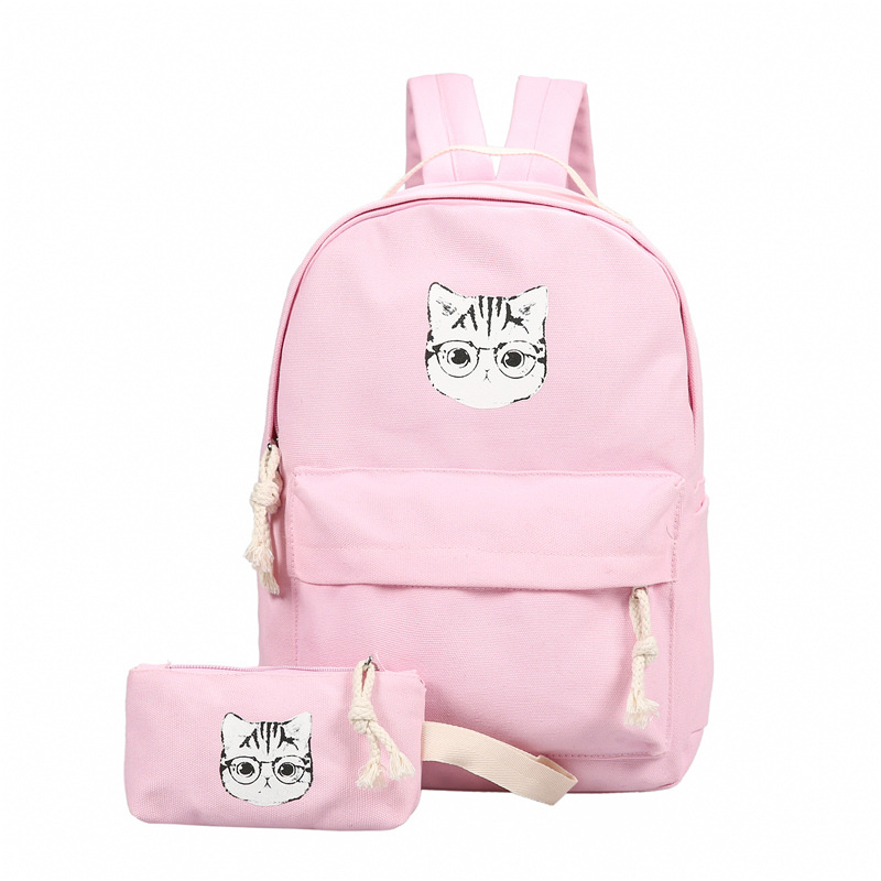 2017 Candy Color Lovely Cat Pattern Backpacks Fashion font b Women s b font Large Capacity