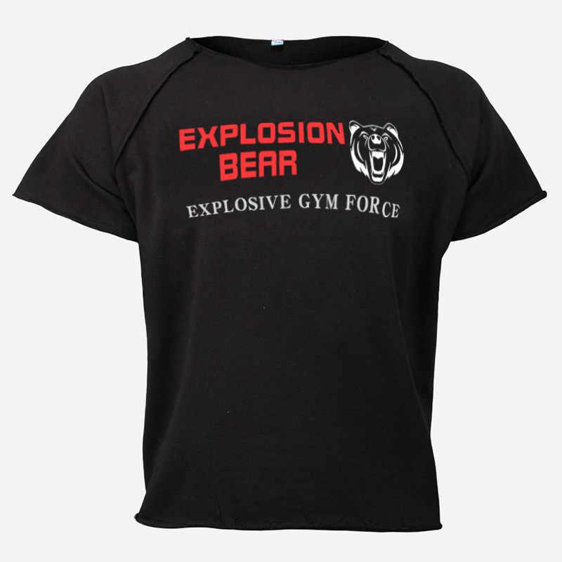 Muscleguys 夏メンズ Tシャツ O ネック綿トップス服ジムワークアウトフィット Tシャツ男性ボディービル半袖 Toptees
