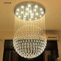 JINLE Modern K9 LED SphericLiving Room Crystal Chandeliers Lighting Fixture for Round Indoor Lamp Showcase Bedroom Hotel Hall