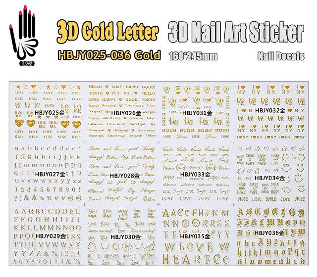 3d nail sticker hbjy025 036 gold letter design 3d nail art decal for