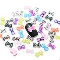 Uñas 100 unids/lote 6x10 MM Nail Art Arco 3D Flower glitter Color Mezclado posterior plana del clavo de DIY Decoraciones diseños de uñas