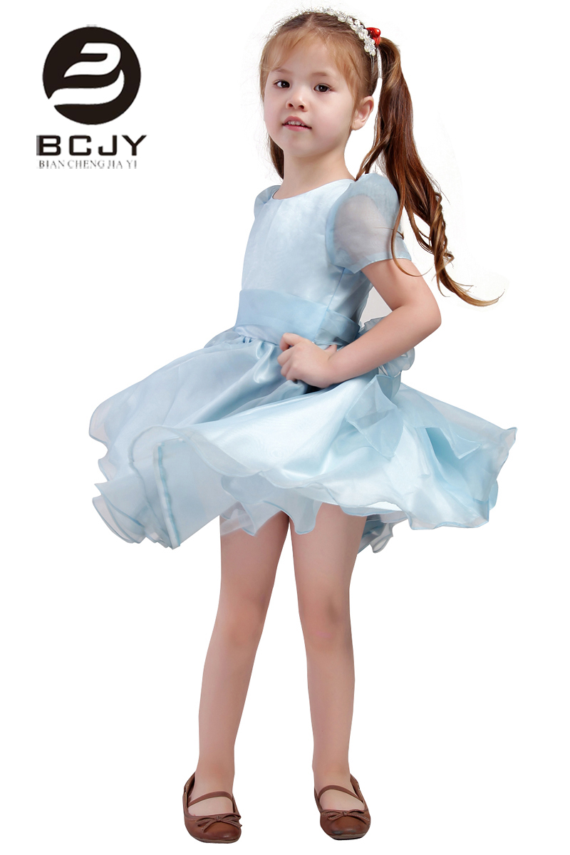 2019 Lovely and Cute Tulle A line O neck Knee Length   Flower     Girl     Dresses   Zipper Back Party   Girls   Pageant   Dresses   with Sashes
