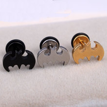 Fashion Men Women Punk Silver Gold Black Blue Color Batman Earring Stainless Steel Batman Barbell Stud Earrings Brincos Jewelry