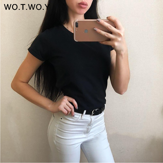 High Quality 18 Color S-3XL Plain T Shirt Women Cotton Elastic Basic T-shirts Female Casual Tops Short Sleeve T-shirt Women 002 4