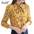 F&JE New 2017 Spring Fashion Korean Style Women Bow Design Elegant Slim Blouse High Quality Print Long Sleeve Chiffon Shirt J430