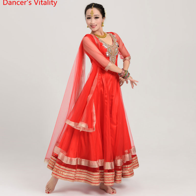 Indian Dance Dancing Clothes Performance Sari Veil Robe Dress Dress Costumes Costume Clothes Wear Clothing For Girls