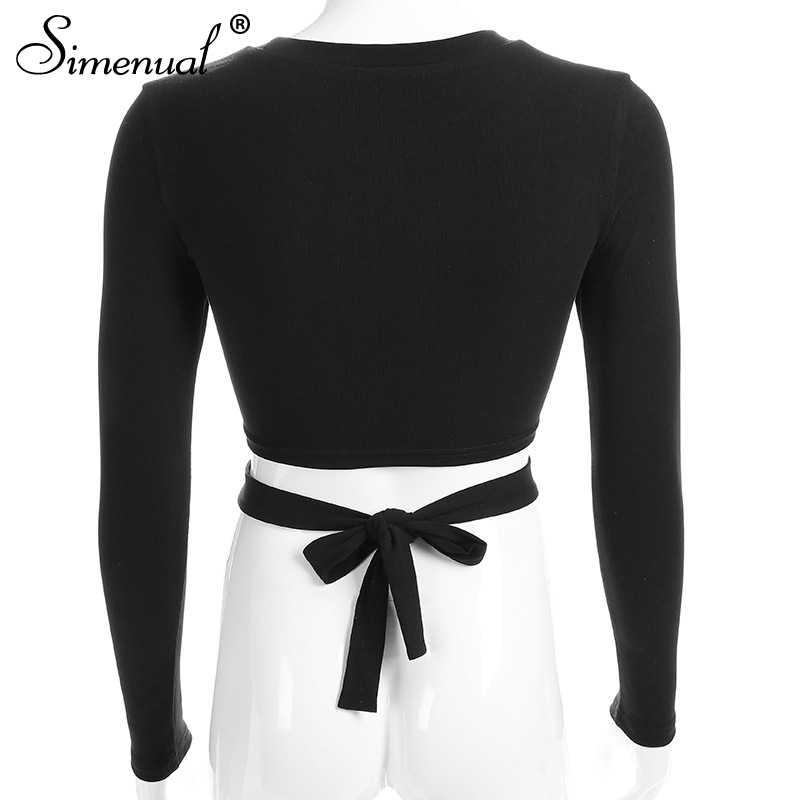 Simenual découpé trou nœud papillon t-shirts pour femmes 2018 mode streetwear coton automne t-shirt mince sexy chaud noir femme t-shirt