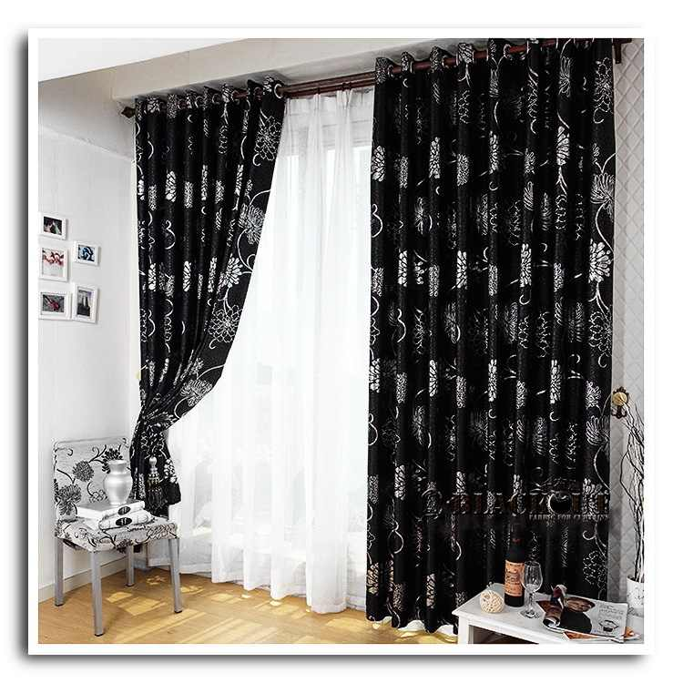 Anticorrosive Metal Grommet beautiful black and gold curtains black and  silver curtains for living room
