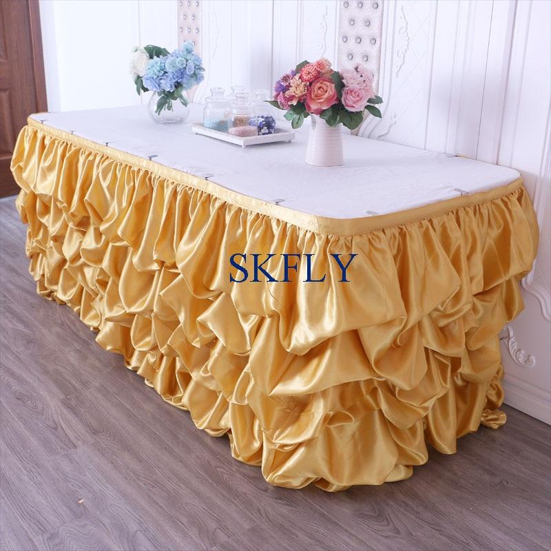 SK002C custom made wedding verzameld gouden tafel rok met klittenband-in Tafelrokken van Huis & Tuin op  Groep 1