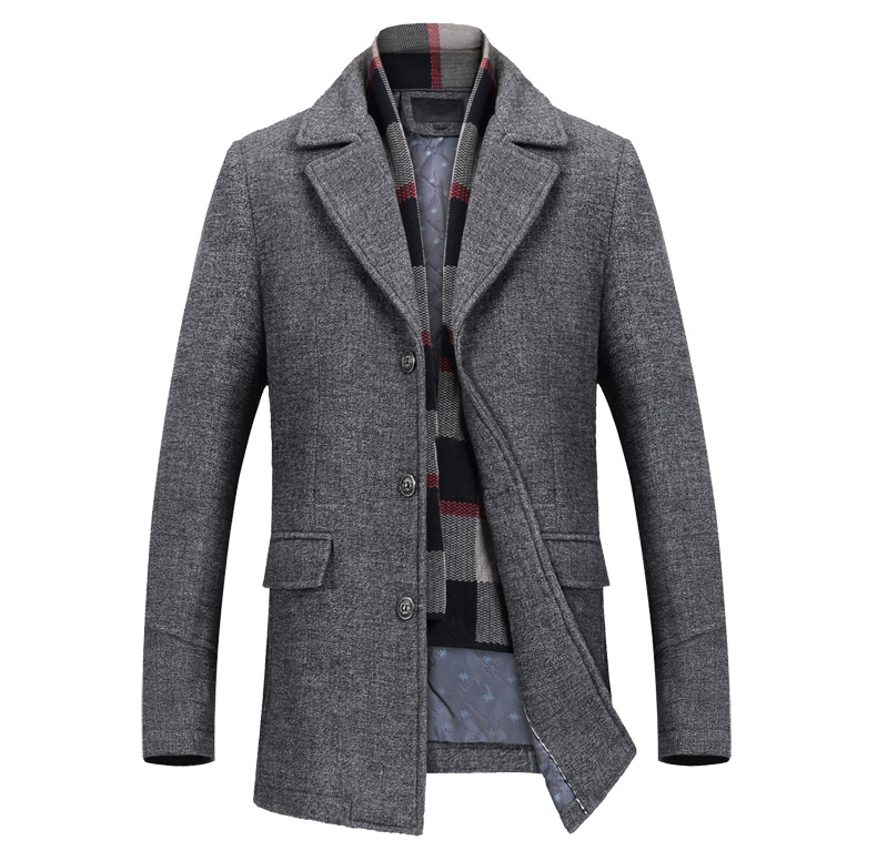 Men Winter Thick Wool Coats Slim-Fit Jacket