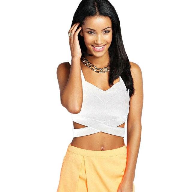 ffac6036704d95 2017 New Strap Kim Kardashian Ladies Black White Deep V Neck Fashion  Knitted Bandage Tank Top Women Crops Tops Summer S2723
