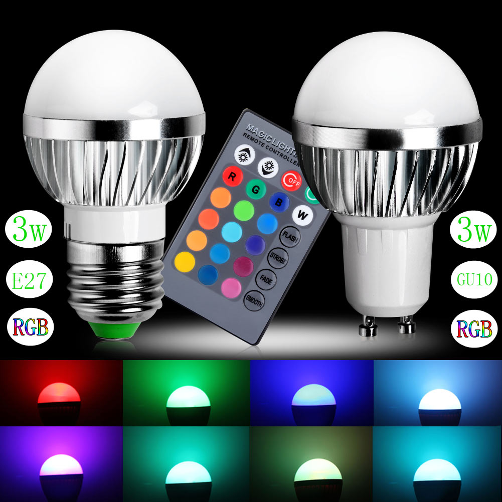 New rgb led bulb gu10 e24 3w led lamp light led spotlight spot 3w rgb led bulb light lamp 16 colors change with 24 key remote controller parisarafo Image collections