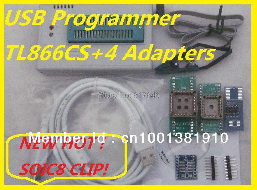 Prix pour Livraison Gratuite Russe Logiciel SOIC8 IC Clip + V6.5 TL866CS EEPROM PIC AVR BIOS USB Universel Programmeur + 4 adaptateurs
