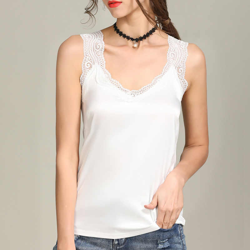 4f5e3944e08 Lace Trim V Neck Satin Silk Tank Top Sexy Tops for Women 2018 Elegant  Workwear Women's Sleeveless Crop Tops Plus size S-4XL