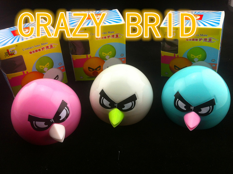 Free shipping new fashion contact lens case,crazy bird contact lense case 10pcs