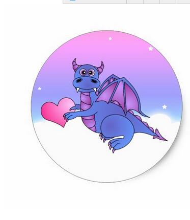 1 5inch Cute Dragon Heart Stickers Blue Pink Purple