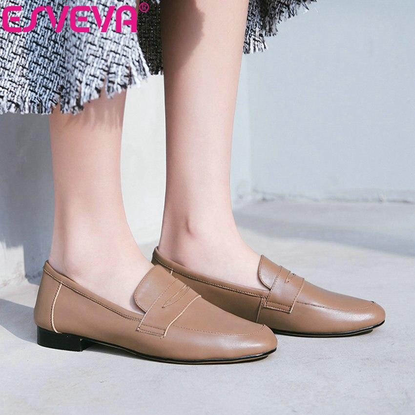 ESVEVA 2019 Style occidental plat femmes chaussures printemps automne confortable bout rond sans lacet peu profond Miss chaussures chaussures peu profondes 34-39