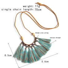 цена на Sale Adjustable 1PC Vintage Statement Long Tassel Pendant Leather Necklace Rope Chain Boho Ethnic Exquisite  Necklace