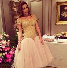 Dubai Gold Ballkleid Kurzarm Perlen Spitze Cocktailkleider 2017 tee Länge Brasilien Partei Abschlussball-kleider robe de cocktail RKE14