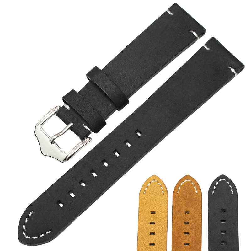 042747bc3e5 18 20 22mm Italian Genuine Leather Watchbands Belt Black Dark Brown Vintage  Handmade Watch Strap Stainless Steel Buckle
