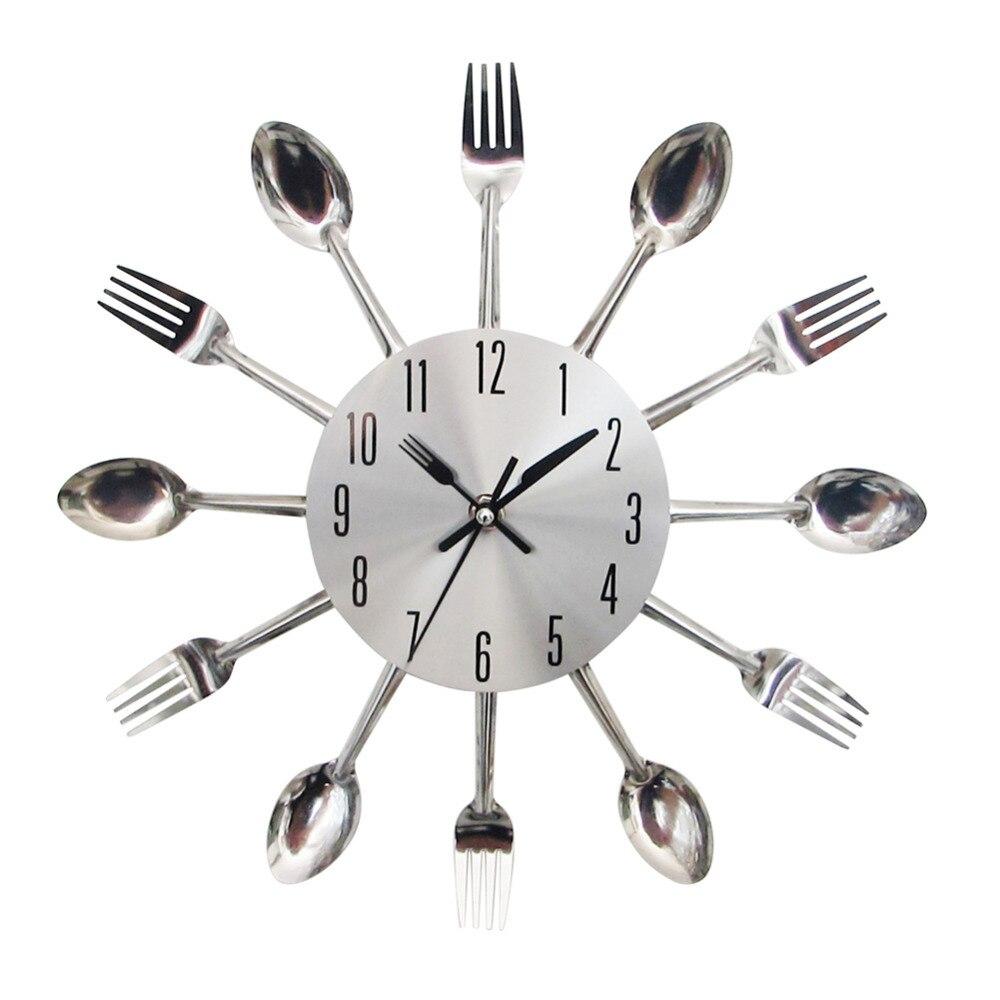 Ordinary Cool Kitchen Clocks Part - 3: Cool Stylish Modern Design Wall Clock Silver Kitchen Cutlery Utensil  Vintage Design Wall Watch Clock Spoon Fork Home Decor-in Wall Clocks From  Home U0026 Garden ...