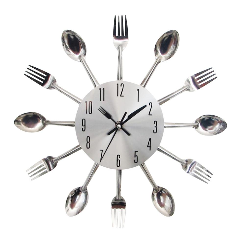 cool stylish modern design wall clock silver kitchen cutlery utensil vintage design wall watch clock spoon
