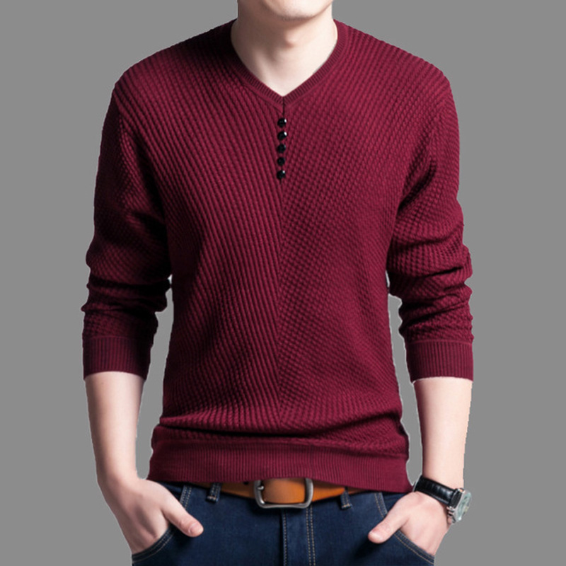 Sweater Men Shirt Pull Slim-Fit V-Neck Knitted Long-Sleeve Cashmere-Wool Autumn Casual