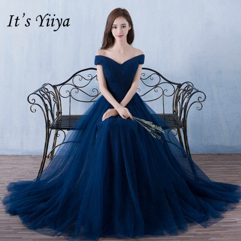 Ini Yiiya Gaun Bridesmaid Elegan Panjang Pesta Pernikahan Gaun Plus Ukuran Biru Bridesmaid Dress Tulle Jubah Soiree DSYA003